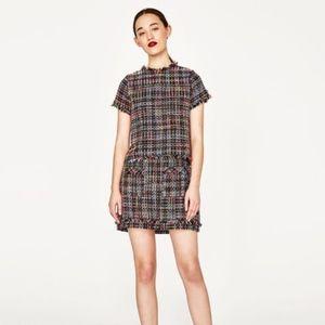 Zara tweed multicolor black skirt top S M dress